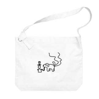 シーシャ犬(横) Big shoulder bags