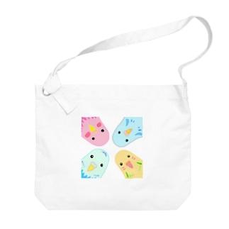 インコのイラスト Big shoulder bags