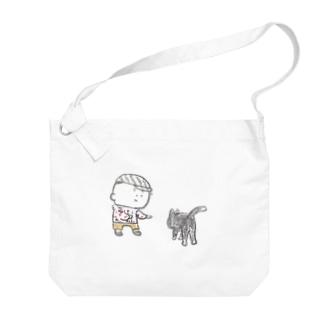 猫にちょっかいだす夫・サミ太郎 Big shoulder bags