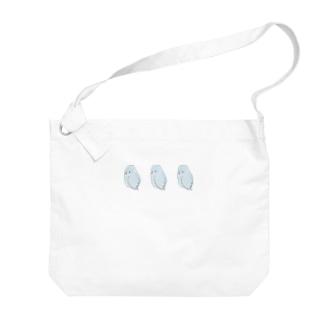 可愛いアメリカンホワイト マメルリハちゃん【まめるりはことり】 Big shoulder bags