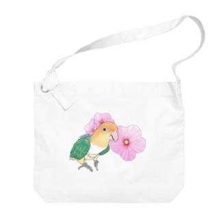 まめるりはことりのお花とシロハラインコちゃん【まめるりはことり】 Big shoulder bags