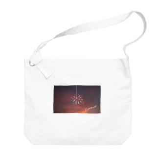 夕日と花火 Big shoulder bags