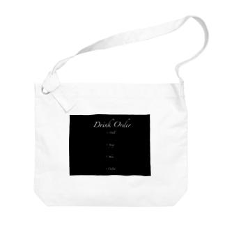しろうさぎカフェ(Black) Big shoulder bags