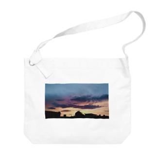 棲家イの2020夏、仕事帰りの夕焼け Big shoulder bags