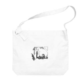 冒涜的な猫ハス(色なし) Big shoulder bags