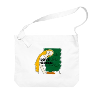 LOVE GREEN with logo Big shoulder bags