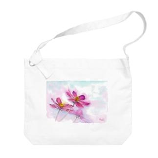 コスモス「どこまでも」透明水彩お花プリント Big shoulder bags