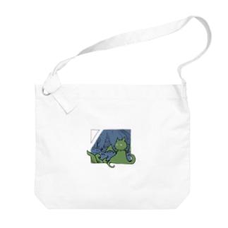 ちょぼろうSHOPの冒涜的な猫ルフ(色付き) Big shoulder bags