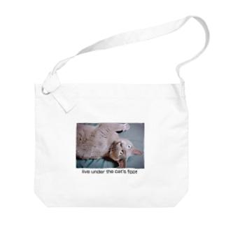 猫の足に敷かれて生きる Big shoulder bags