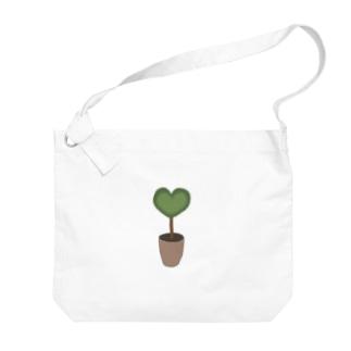 ハート♥グリーンの植木鉢 Big shoulder bags