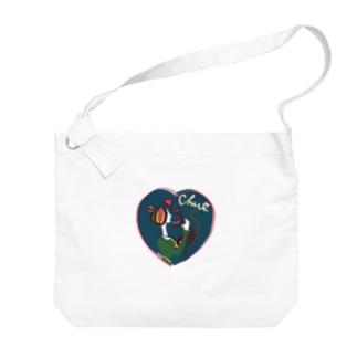 猫キッス ブルー Big shoulder bags