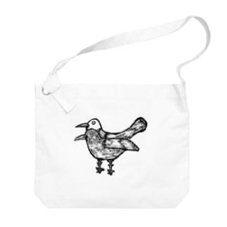 疫病退散!版画風のヨゲンノトリのイラスト Big shoulder bags
