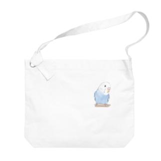 おしゃまな止まり木セキセイインコちゃん【まめるりはことり】 Big shoulder bags
