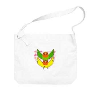 ラブリーコザクラインコ【まめるりはことり】 Big shoulder bags