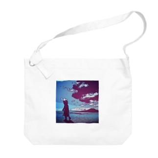 海と子どもの絵 Big shoulder bags