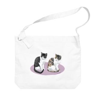 河原の野良猫ビワとコチャ Big shoulder bags