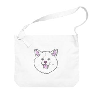 秋田犬ハッピースマイル白毛 Big shoulder bags