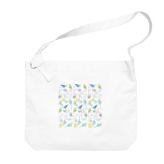 たくさんセキセイインコちゃん【まめるりはことり】 Big shoulder bags