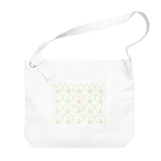 屋根裏ひみつ結社のうさぎ いっぱい WAROLIER-ワロリエ- Big shoulder bags