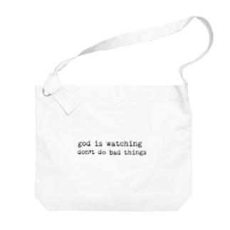 神様は見ているロゴ。 Big shoulder bags