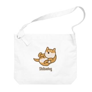 寝ころび柴犬 Big Shoulder Bag