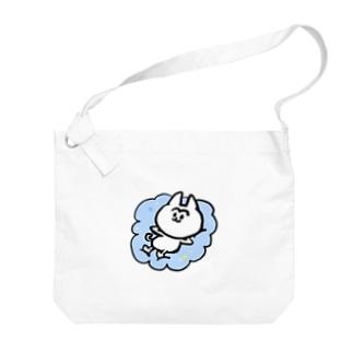 雲の上のまゆげねこ Big shoulder bags