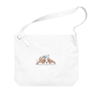 インコとワンコ Big shoulder bags