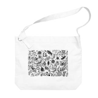 淡水プランクトンペイズリー Big shoulder bags