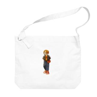 「パンクな女の子」イラスト Big shoulder bags