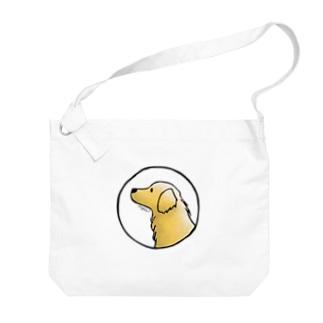 ゴールデン・レトリーバー〈水彩風・円〉 Big shoulder bags