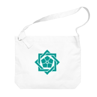 松や SUZURI店の坂本龍馬 家紋 Big shoulder bags