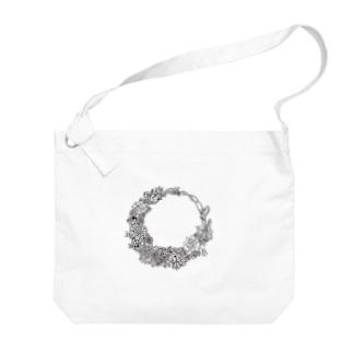 Flower リース Big shoulder bags