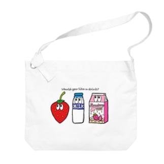 いちごミルク/モンスター Big shoulder bags
