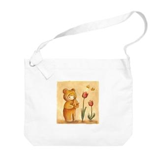 クマちゃんとチューリップ Big shoulder bags