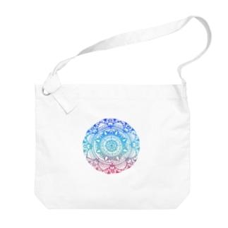 手描き曼陀羅(グラデーション) Big shoulder bags