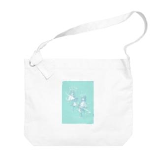 青と踊る女の子 Big shoulder bags