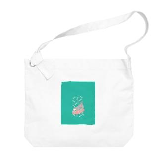 のび~るマヌルネコ_グリーン Big shoulder bags