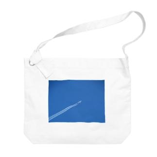日本の空:飛行機雲 Blue sky: Contrail Big shoulder bags