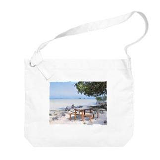 ミクロネシア:リーフが見える浜辺の風景 Micronesia: seaside of Pohnpei Big shoulder bags