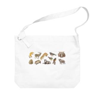 冬の山の動物たち Big shoulder bags