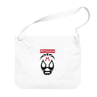 MIL MASCARAS-ミル・マスカラス-赤ボックスロゴ Big shoulder bags