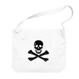 海賊旗スカル-Jolly Roger サミュエル・ベラミーの海賊旗-黒ロゴ Big shoulder bags