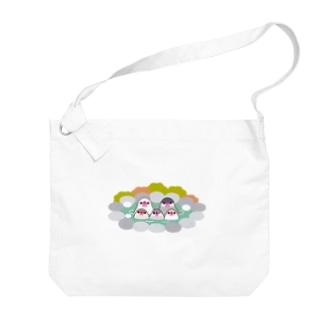 温泉に入る文鳥Family Big shoulder bags