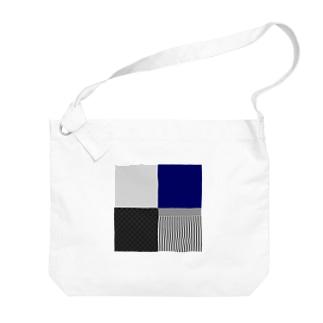 和柄(灰/紺) Big shoulder bags