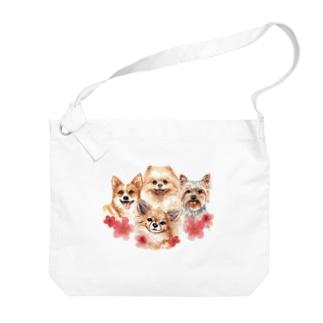 お花の似合う小さい犬たち。 Big shoulder bags