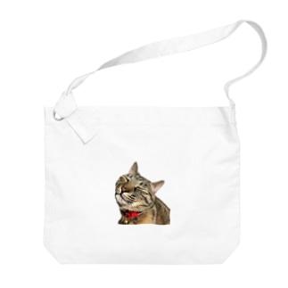 ねこまちランドのモカのお眠りタイム Big shoulder bags