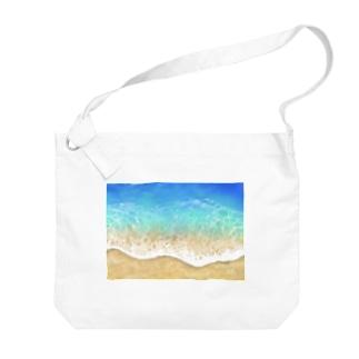 キラキラ水面・ビーチ柄シリーズ2 Big shoulder bags