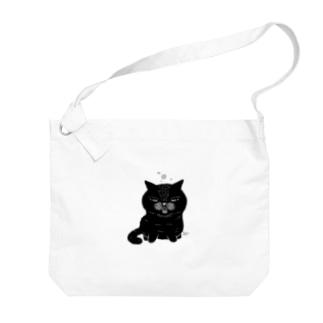 ねこの寝落ち(黒猫) Big shoulder bags