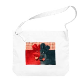 わんちゃんツーショット Big shoulder bags