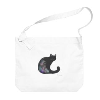 クロネコ 水彩 Big Shoulder Bag